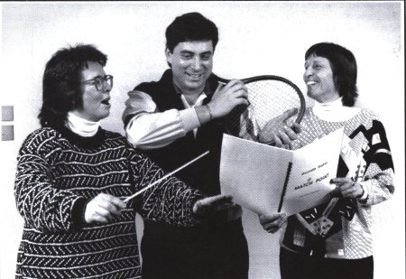 A photo of Billie Jean King, Dino Anagnost, and Gwyneth Walker