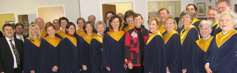 A photo of the Chancel Choir of the Congregational Church of New Canaan with Gwyneth Walker